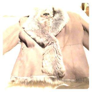 Shearling Gray Waisted Jacket  designer LUCA LUCA
